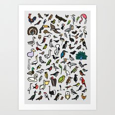 100 Birds Poster Art Print
