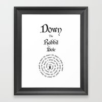 Alice In Wonderland Down… Framed Art Print