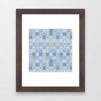 Blue Floor Tile Mashup Framed Art Print