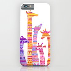 Giraffe Silhouettes in Colorful Tribal Print iPhone 6 Slim Case