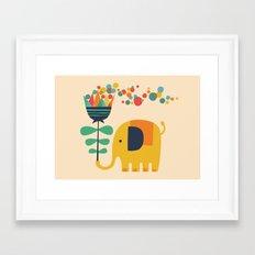 Elephant with giant flower Framed Art Print