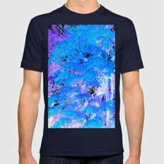 Turquoise Purple Trees Mens Fitted Tee Navy SMALL