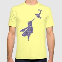 Lavender Hummingbird Pap… Mens Fitted Tee Lemon SMALL