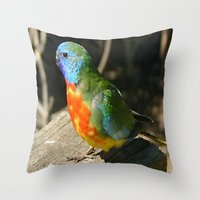 Scarlet-Chrested Parrot … Throw Pillow