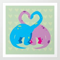 dino love pillow Art Print