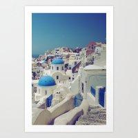 Blue Domes, Oia, Santori… Art Print