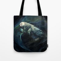 Polar Bear Swimming in Northern Lights Tote Bag