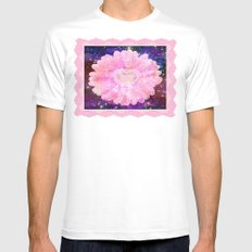 Pink flower with sparkles  Mens Fitted Tee White SMALL