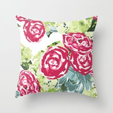 Peonies, Hydrangeas and Succulents Throw Pillow