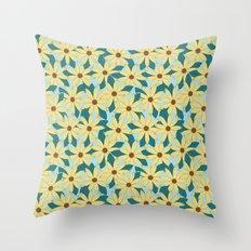 Gerbera Blue Throw Pillow