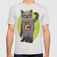 Cat Mens Fitted Tee Silver SMALL