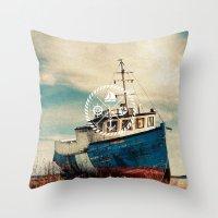 Blue Brown Vintage Nauti… Throw Pillow