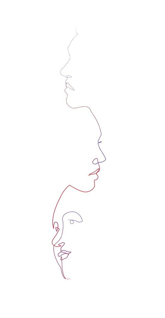 Faces line Canvas Print