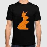 Origami Hare Mens Fitted Tee Black SMALL