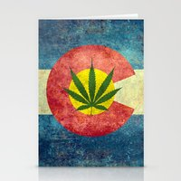 Retro Colorado State flag with the leaf - Marijuana leaf that is! Stationery Cards