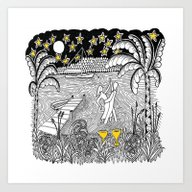 Art Print featuring Beach Dancing Under Star… by Vermont Greetings