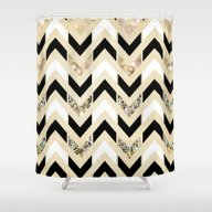 Black, White & Gold Glit… Shower Curtain