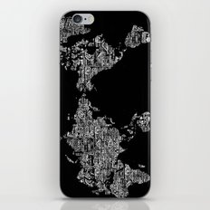 Passport Stamp Map Special Edition, Black and White iPhone & iPod Skin