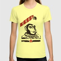 Soviet Space Monkey Womens Fitted Tee Lemon SMALL