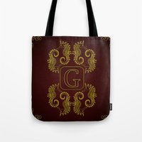 Letter G Seahorse Tote Bag