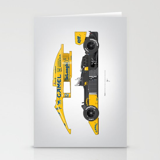 Outline Series N.º5, Ayrton Senna, Lotus 99T-Honda, 1987 Stationery Card