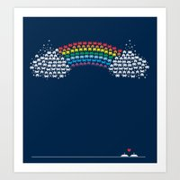 Rainbow Invaders Art Print