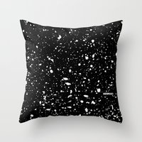 Retro Speckle Print - Bl… Throw Pillow