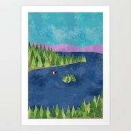 Art Print featuring Around The Lake  by Suburban Bird Design…