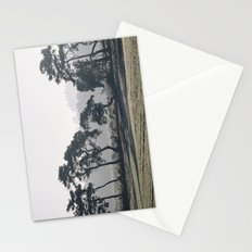 Trees lining a frosty field on a cold morning. Norfolk, UK. Stationery Cards