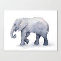 Elephant Watercolor Canvas Print