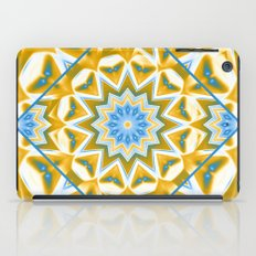Wheel cover kaleidoscope in blue and gold iPad Case
