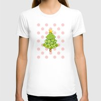 Pink Polka Dots Christmas Womens Fitted Tee White SMALL