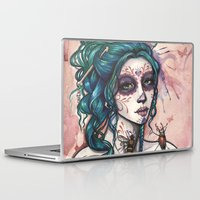 day of the dead Laptop & iPad Skins featuring Day of the Dead by Mortimer Sparrow