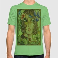 Mona Lisa's Butterflys Mens Fitted Tee Grass SMALL