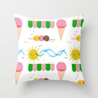 Ice Cream Summer Throw Pillow