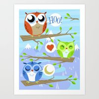 Owl Hangout With You Art Print