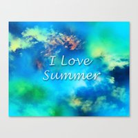 Cosmic clouds in bluel I love Summer Canvas Print