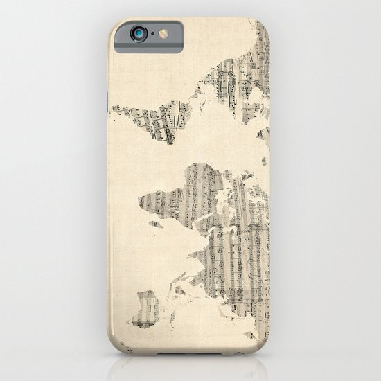 Old Sheet Music World Map iPhone & iPod Case