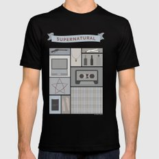 Greyscale Supernatural Mens Fitted Tee Black SMALL