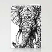 pop art Stationery Cards featuring Ornate Elephant by BIOWORKZ