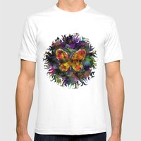 Abstract Butterfly Mens Fitted Tee White SMALL