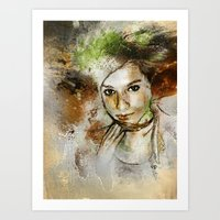 Girl With Green Hair Art Print