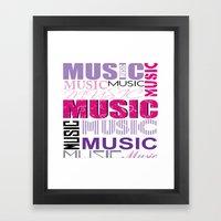 The Word Music In Purple… Framed Art Print