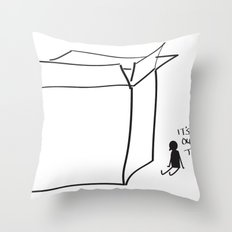 It's cold outside the box... Throw Pillow