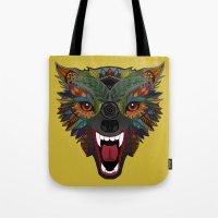 wolf fight flight ochre Tote Bag