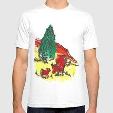 Big moo, wee moo (colored version) SMALL White Mens Fitted Tee
