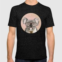 Funny koala with glasses Mens Fitted Tee Tri-Black SMALL
