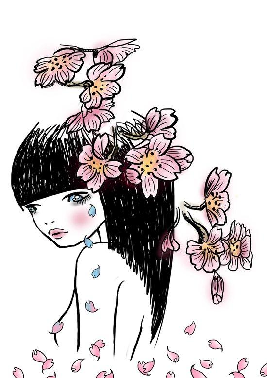 Sakura tears Art Print