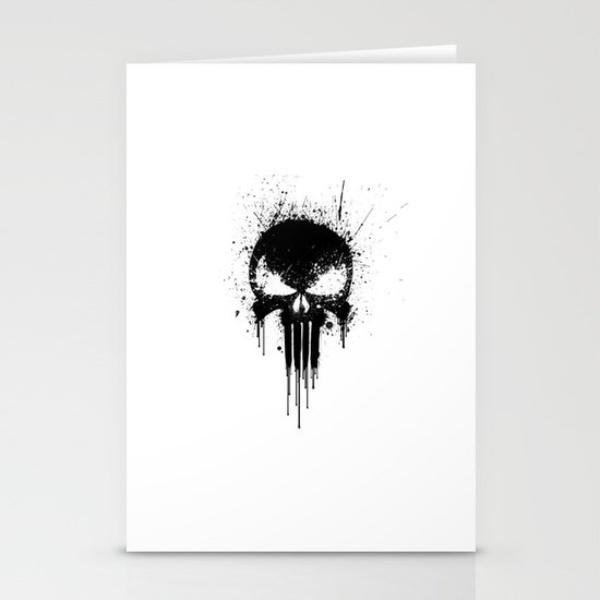 Black Skull Stationery Card