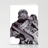 Master Chief Pen Drawing Stationery Cards